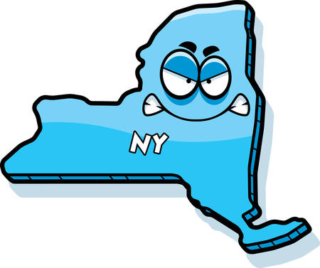 A cartoon illustration of the state of New York looking angry. Illustration
