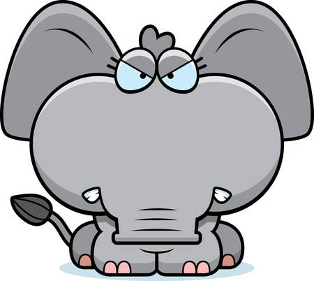 elephant angry: A cartoon illustration of a little elephant with an angry expression.