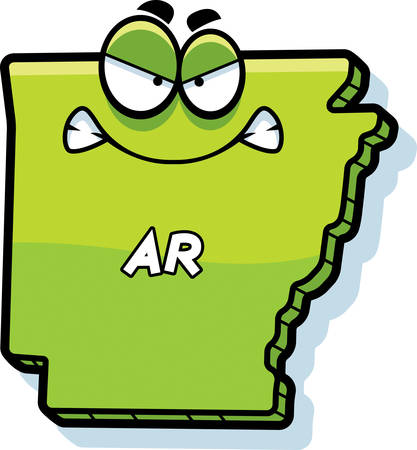 ar: A cartoon illustration of the state of Arkansas looking angry.