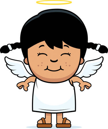 hispanics: A cartoon illustration of a girl angel standing and smiling.