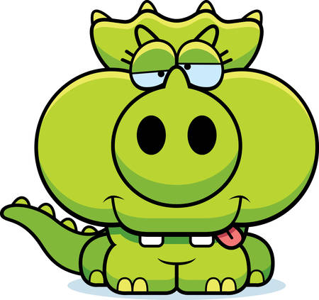 A cartoon illustration of a little Triceratops dinosaur with a goofy expression. 向量圖像