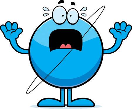 uranus: A cartoon illustration of the planet Uranus looking scared.