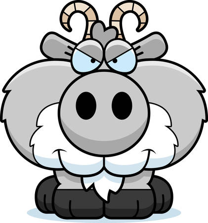 A cartoon illustration of a goat with a sly expression. 向量圖像