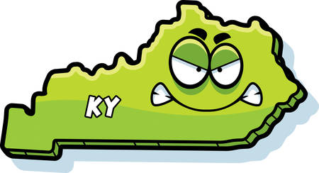 kentucky: A cartoon illustration of the state of Kentucky looking angry. Illustration