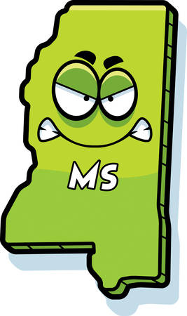 ms: A cartoon illustration of the state of Mississippi looking angry.