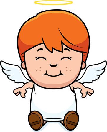 A cartoon illustration of a angel boy sitting and smiling. 向量圖像