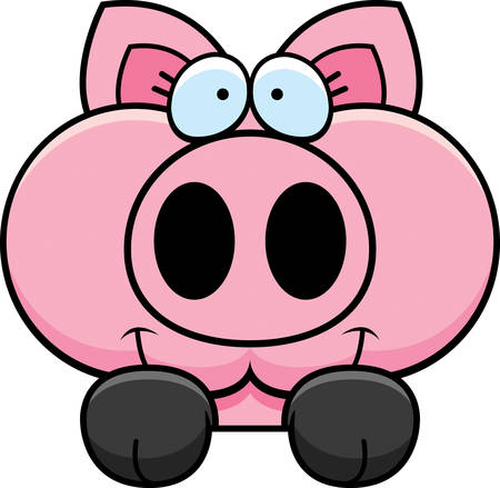 peering: A cartoon illustration of a little pig peeking over an object.