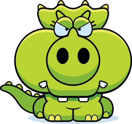 작은 트리케라톱스 공룡 화가 식을 만화 그림. 일러스트