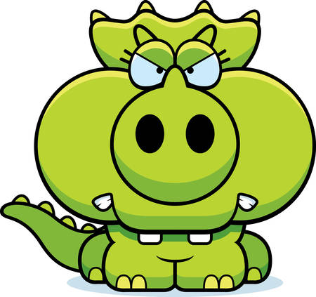 triceratops: A cartoon illustration of a little Triceratops dinosaur with an angry expression.