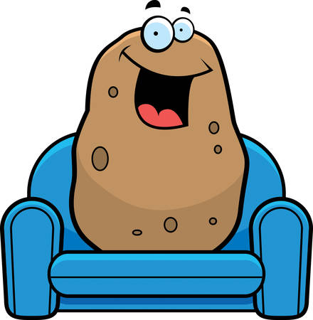 couch: A cartoon illustration of a couch potato. Illustration