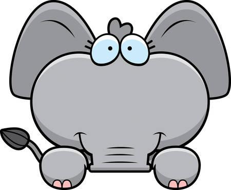 peeking: A cartoon illustration of a little elephant peeking over an object. Illustration