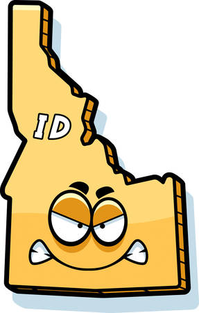 A cartoon illustration of the state of Idaho looking angry.