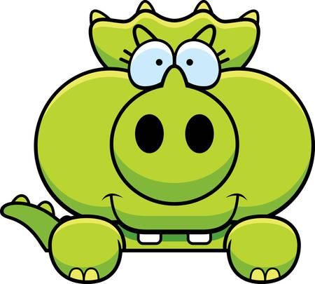 peeking: A cartoon illustration of a little Triceratops dinosaur peeking over an object. Illustration