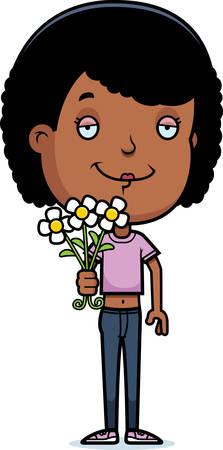 花の 10 代の少女の漫画イラスト。