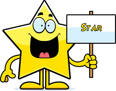 celestial body: A cartoon illustration of a star holding a sign.