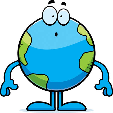 Een cartoon illustratie van de planeet aarde op zoek verrast.