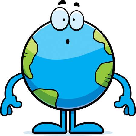 Eine Karikaturillustration der Planet Erde suchen überrascht. Standard-Bild - 42613688
