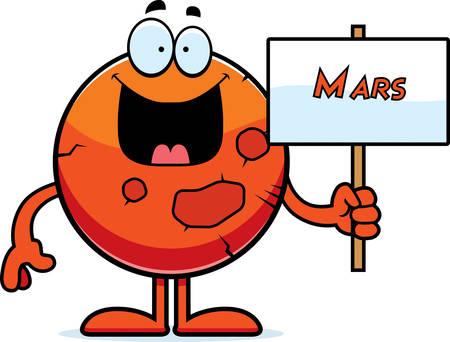 看板を持っている火星の漫画イラスト。