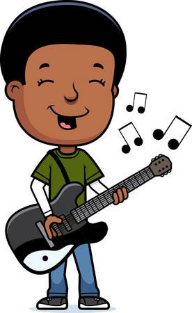 boy playing guitar: A cartoon illustration of a teenage boy playing an electric guitar.