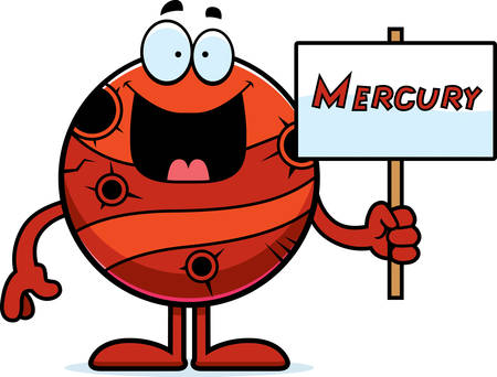 A cartoon illustration of the planet Mercury holding a sign.