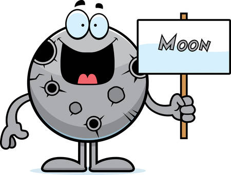 celestial body: A cartoon illustration of the Moon holding a sign. Illustration