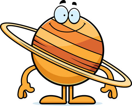 A cartoon illustration of the planet Saturn looking happy.
