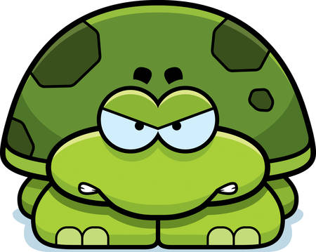 A cartoon illustration of a little turtle with an angry expression.
