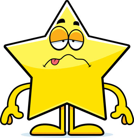 nauseous: A cartoon illustration of a star looking sick.