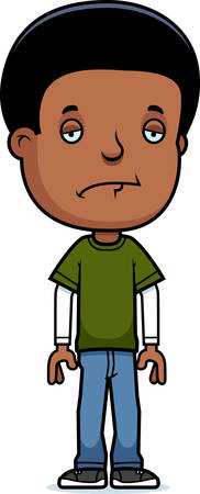 black boy: A cartoon illustration of a teenage boy looking sad.