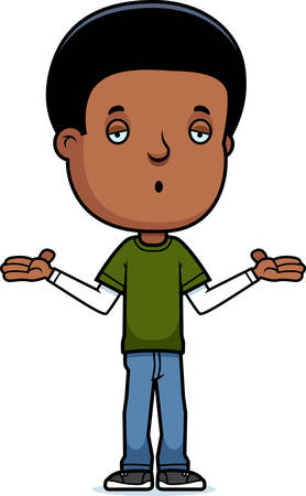 A cartoon illustration of a teenage boy shrugging.