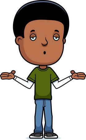 teenage boy: A cartoon illustration of a teenage boy shrugging.