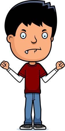 teenage boy: A cartoon illustration of a teenage boy looking mad.