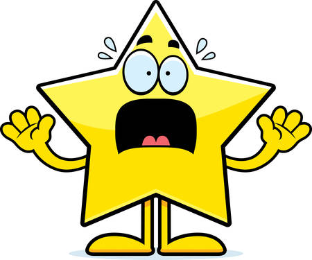celestial body: A cartoon illustration of a star looking scared.