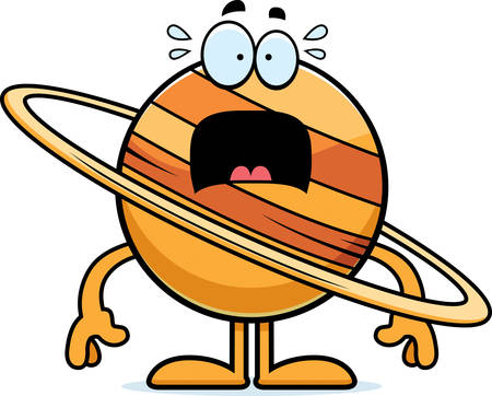 and saturn: A cartoon illustration of the planet Saturn looking scared. Illustration