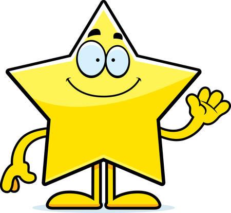 arts system: A cartoon illustration of a star waving. Illustration
