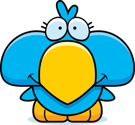 A cartoon illustration of a little blue bird happy and smiling.