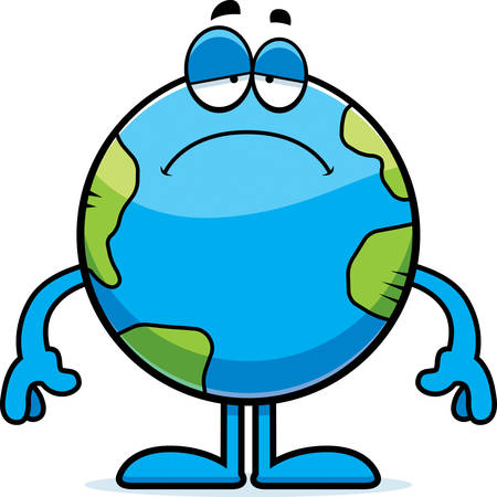 celestial body: A cartoon illustration of the planet Earth looking sad. Illustration