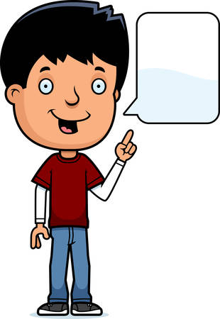 hispanic boys: A cartoon illustration of a teenage boy talking.