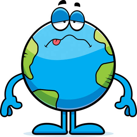 nauseous: A cartoon illustration of the planet Earth looking sick. Illustration