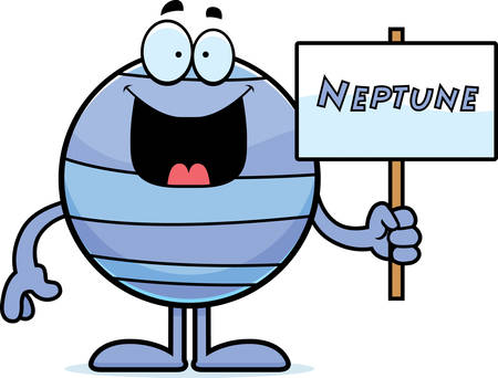 neptune: A cartoon illustration of the planet Neptune holding a sign.
