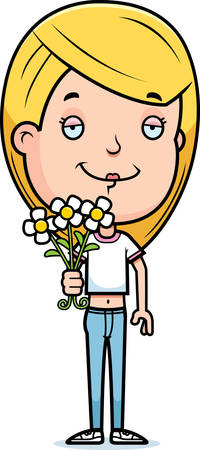 A cartoon illustration of a teenage girl with flowers.