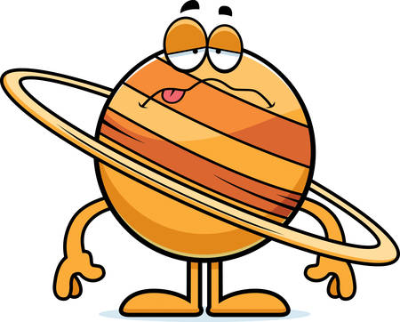 nauseous: A cartoon illustration of the planet Saturn looking sick.