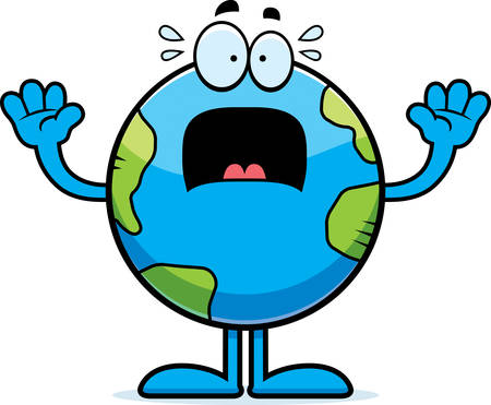 A cartoon illustration of the planet Earth looking scared.
