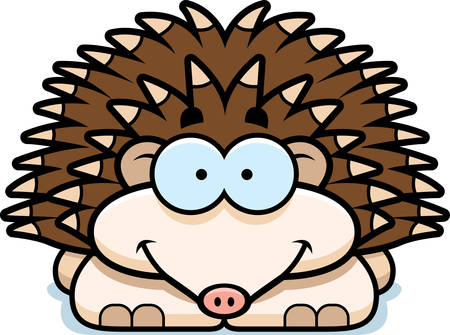 A cartoon illustration of a little hedgehog happy and smiling.