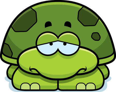 tortuga caricatura: Un ejemplo de la historieta de una peque�a tortuga con una expresi�n triste.