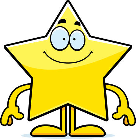 arts system: A cartoon illustration of a star looking happy.