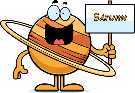 saturn rings: A cartoon illustration of the planet Saturn holding a sign. Illustration