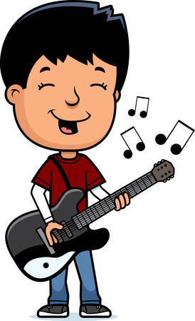 boy playing guitar: A cartoon illustration of a teenage boy playing an electric guitar.