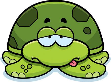 A cartoon illustration of a little sea turtle looking sick.