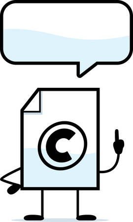 copyrighted: A cartoon illustration of a copyrighted file talking.